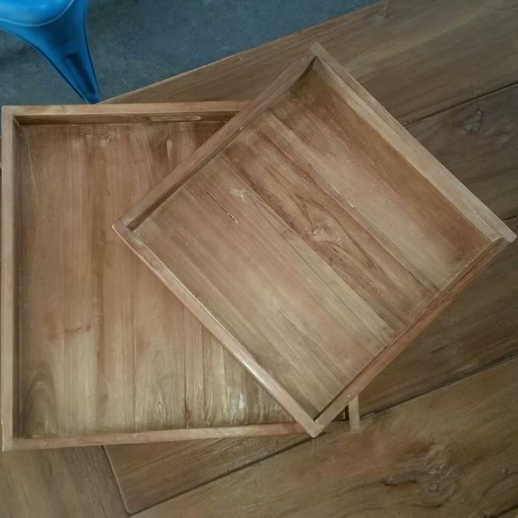 Verbazingwekkend brocante houten dienbladen XI-79