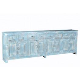blauwe brocante dressoir met 8 deuren en 8 lade -2c-124