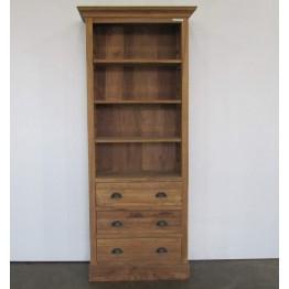 ruwe teakhouten boekenkast met laden - j-bo6